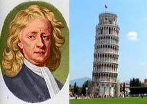 Isaac Newton, 25.12.1642 - 20.03.1727 naast de Toren van Pisa