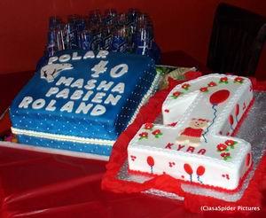 Polar taart voor Roland (40) en een 1 voor Kyra (1)