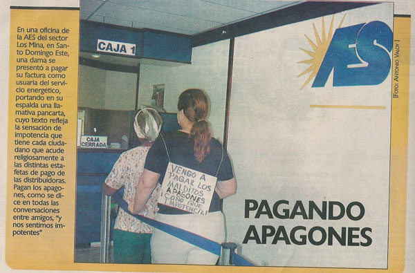12.07.2008: Apagones (stroomuitval) is sinds jaar en dag een belangrijk thema in de Dominicaanse Republiek. Klik voor groter.